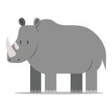 Διανυσματικός ρινόκερος κινούμενων σχεδίων που απομονώνεται στο κενό υπόβαθρο Στοκ εικόνες με δικαίωμα ελεύθερης χρήσης