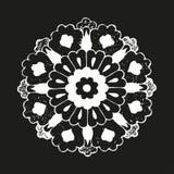 Διανυσματικός στρογγυλός ασιατικός τρύγος λουλουδιών Στοκ Εικόνα