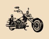 Διανυσματικός συρμένος χέρι κλασικός μπαλτάς για την ετικέτα MC Λεπτομερής τρύγος απεικόνιση μοτοσικλετών για την επιχείρηση ποδη ελεύθερη απεικόνιση δικαιώματος