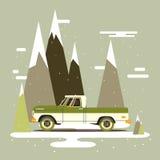 Διανυσματικός σύγχρονος αναδρομικός παίρνει Σχέδιο τάσης τουρισμού ταξίδι παιχνιδιών χαρτών της Ευρώπης αυτοκινήτων Στοκ Φωτογραφία