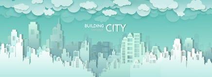 Διανυσματικός σύγχρονος ορίζοντας κτηρίων πόλεων κεντρικός στοκ εικόνα