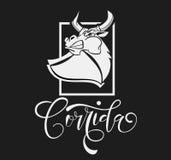 Διανυσματικός ταύρος πάλης απεικόνισης επιθετικός Στοκ Εικόνα