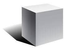 Διανυσματικός τρισδιάστατος κύβος με τη σκιά Στοκ Εικόνες