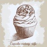 διανυσματικός τρύγος εγγράφων ανασκόπησης παλαιός Συρμένο χέρι γλυκό cupcake Στοκ εικόνες με δικαίωμα ελεύθερης χρήσης