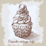 διανυσματικός τρύγος εγγράφων ανασκόπησης παλαιός Συρμένο χέρι γλυκό cupcake Στοκ φωτογραφία με δικαίωμα ελεύθερης χρήσης