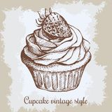 διανυσματικός τρύγος εγγράφων ανασκόπησης παλαιός Συρμένο χέρι γλυκό cupcake Στοκ Εικόνες