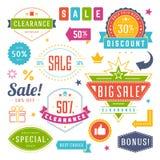 Διανυσματικός τρύγος σχεδίου ετικεττών και ετικετών πώλησης που τίθεται για τα εμβλήματα διανυσματική απεικόνιση
