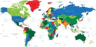 Διανυσματικός υψηλός χάρτης χρώματος λεπτομέρειας του κόσμου Στοκ φωτογραφίες με δικαίωμα ελεύθερης χρήσης