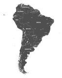Διανυσματικός υψηλός λεπτομερής χάρτης της Νότιας Αμερικής Όλα τα στρώματα που αποσυνδέονται και επονομαζόμενα Στοκ Φωτογραφίες