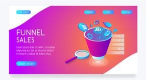 Διανυσματικός φωτεινός ιστοχώρος με τις πωλήσεις χοανών Ηλεκτρονικό εμπόριο διανυσματική απεικόνιση