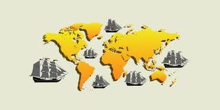 Διανυσματικός χάρτης με τα σκάφη με τα χωριστά editable στοιχεία στοκ φωτογραφίες με δικαίωμα ελεύθερης χρήσης
