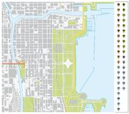 Διανυσματικός χάρτης οδών του στο κέντρο της πόλης Σικάγου με τους δείκτες καρφιτσών και infr ελεύθερη απεικόνιση δικαιώματος
