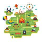 Διανυσματικός χάρτης λούνα παρκ οικογενειακής διασκέδασης Ψυχαγωγία στο διανυσματικό υπόβαθρο διακοπών διανυσματική απεικόνιση