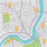 Διανυσματικός χάρτης πόλεων διανυσματική απεικόνιση