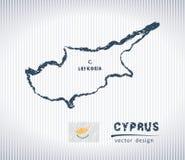 Διανυσματικός χάρτης σχεδίων κιμωλίας της Κύπρου που απομονώνεται σε ένα άσπρο υπόβαθρο διανυσματική απεικόνιση
