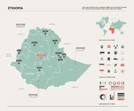 Διανυσματικός χάρτης της Αιθιοπίας απεικόνιση αποθεμάτων
