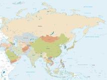 Διανυσματικός χάρτης της Ασίας απεικόνιση αποθεμάτων