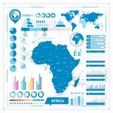 Διανυσματικός χάρτης της Αφρικής και των infographic στοιχείων Στοκ Φωτογραφία