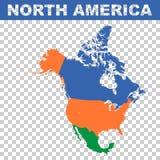 Διανυσματικός χάρτης της Βόρειας Αμερικής απεικόνιση αποθεμάτων
