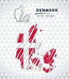 Διανυσματικός χάρτης της Δανίας με το εσωτερικό σημαιών που απομονώνεται σε ένα άσπρο υπόβαθρο Συρμένη χέρι απεικόνιση κιμωλίας σ απεικόνιση αποθεμάτων