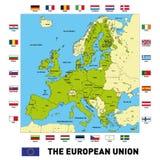 Διανυσματικός χάρτης της Ευρωπαϊκής Ένωσης Στοκ Φωτογραφία