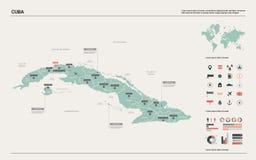 Διανυσματικός χάρτης της Κούβας Υψηλός λεπτομερής χάρτης χωρών με το τμήμα, τις πόλεις και την κύρια Αβάνα Πολιτικός χάρτης, παγκ απεικόνιση αποθεμάτων