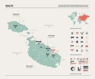Διανυσματικός χάρτης της Μάλτας απεικόνιση αποθεμάτων