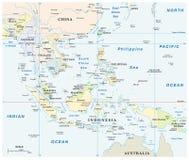 Διανυσματικός χάρτης της Νοτιοανατολικής Ασίας με τις συντεταγμένες και την κλίμακα διανυσματική απεικόνιση