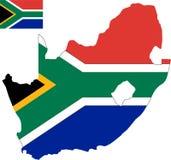 Διανυσματικός χάρτης της Νότιας Αφρικής με τη σημαία απομονωμένο, άσπρο υπόβαθρο στοκ εικόνα