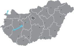 Διανυσματικός χάρτης της Ουγγαρίας Στοκ Φωτογραφία