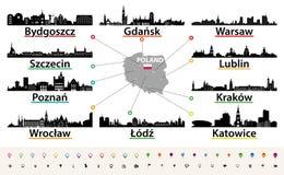 Διανυσματικός χάρτης της Πολωνίας με τις μεγαλύτερες σκιαγραφίες οριζόντων πόλεων απεικόνιση αποθεμάτων