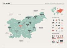 Διανυσματικός χάρτης της Σλοβενίας ελεύθερη απεικόνιση δικαιώματος