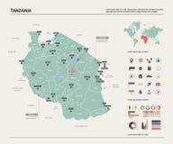 Διανυσματικός χάρτης της Τανζανίας ελεύθερη απεικόνιση δικαιώματος