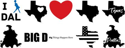 Διανυσματικός χάρτης του Ντάλλας Τέξας με το χάρτη του Τέξας ελεύθερη απεικόνιση δικαιώματος