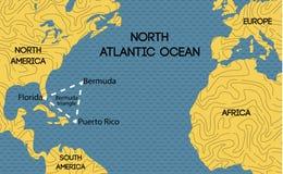 Διανυσματικός χάρτης του τριγώνου των Βερμούδων απεικόνιση αποθεμάτων
