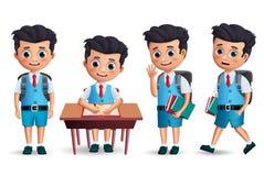 Διανυσματικός χαρακτήρας αγοριών σπουδαστών - σύνολο Φθορά χαρακτήρα σχολικών παιδιών ομοιόμορφη απεικόνιση αποθεμάτων