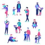 Διανυσματικός χαρακτήρας ανθρώπων Πατέρας και αυτός χρόνος εξόδων παιδιών από κοινού διανυσματική απεικόνιση