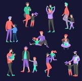 Διανυσματικός χαρακτήρας ανθρώπων Πατέρας και αυτός χρόνος εξόδων παιδιών από κοινού ελεύθερη απεικόνιση δικαιώματος