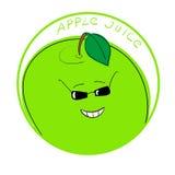 Διανυσματικός χαρακτήρας κινουμένων σχεδίων μήλων απεικόνισης σε ένα στρογγυλό πλαίσιο με το χειρόγραφο χυμό της Apple λέξεων Στοκ φωτογραφία με δικαίωμα ελεύθερης χρήσης