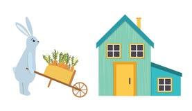 Διανυσματικός χαρακτήρας λαγών απεικόνισης χαριτωμένος με wheelbarrow διανυσματική απεικόνιση
