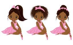 Διανυσματικός χαριτωμένος λίγος αφροαμερικάνος Ballerinas Στοκ Εικόνες