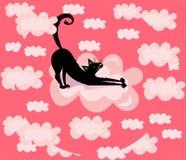 Διανυσματικός χαριτωμένος, αστείος, απεικόνιση κινούμενων σχεδίων, τυπωμένη ύλη με τη μαύρη γάτα στα ρόδινα σύννεφα διανυσματική απεικόνιση