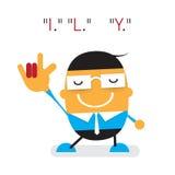 Διανυσματικός χαριτωμένος νέος επιχειρηματίας κινούμενων σχεδίων που παρουσιάζει σημάδι χεριών αγάπης με το Ι, Λ, U, κείμενο Απεικόνιση αποθεμάτων