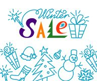 διανυσματικός χειμώνας κειμένων πώλησης ανασκόπησης έμβλημα έκπτωσης Έμβλημα για τις αγορές Χριστουγέννων ελεύθερη απεικόνιση δικαιώματος