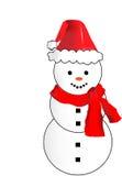 Διανυσματικός χιονάνθρωπος με το καπέλο Santa και το κόκκινο μαντίλι Στοκ Εικόνες