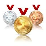 Διανυσματικός χρυσός, ασημένιος και χάλκινο μετάλλιο με το κόκκινο Στοκ Εικόνες
