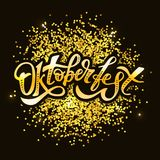 Διανυσματικός χρυσός διακοπών κειμένων βουρτσών καλλιγραφίας Oktoberfest γράφοντας Στοκ εικόνα με δικαίωμα ελεύθερης χρήσης