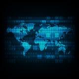 Διανυσματικός ψηφιακός παγκόσμιος χάρτης τεχνολογίας Στοκ Φωτογραφία