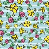 Διανυσματικός ditsy floral επαναλαμβάνει το σχέδιο σχεδίων σε πράσινο ελεύθερη απεικόνιση δικαιώματος