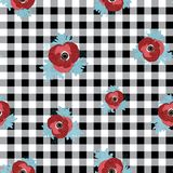 Διανυσματικός floral επαναλαμβάνει το άνευ ραφής σχέδιο με τα κόκκινα και ρόδινα λουλούδια anemone στο μαύρο ελεγχμένο υπόβαθρο ελεύθερη απεικόνιση δικαιώματος